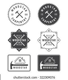 Set of vintage carpentry and mechanic labels, emblems and logo. Illustration. Illustration