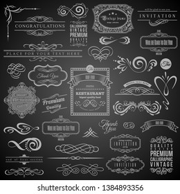 Set of Vintage Decorations Elements.Flourishes Calligraphic Ornaments and Frames with place for your text. Retro Style Design Collection for Invitations, Banners, Posters, Badges, Logotypes.