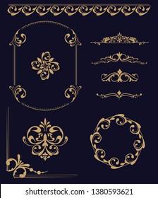 Set of vintage elements. Frames, dividers for your design. Golden Components in royal style. Elements for design menus, websites, certificates, boutiques, salons, etc. Making your logo and monogram.