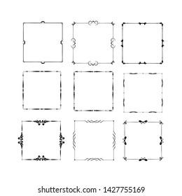 set of vintage frames on white background