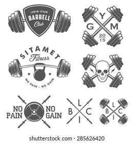 Set of vintage gym emblems, labels and design elements