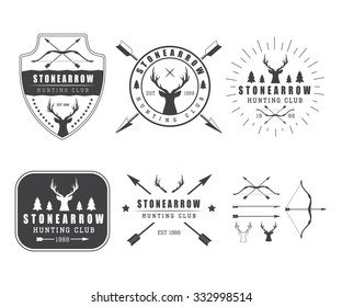 Set of vintage hunting labels, logo, badge and design elements. Illustration