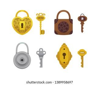 Set of vintage keys and locks. illustration cartoon padlock. Secret, mystery or safe icon.