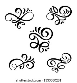Set of vintage line elegant dividers and separators, swirl and corner decorative ornaments. Floral line filigree design elements. Flourish curl elements for invitation or menu page illustration