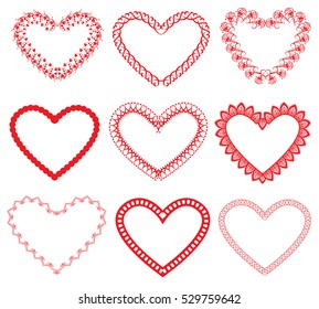 Set of vintage ornamental hearts shapes. Valentines Day or wedding card, invitation design. Red color images isolated on white background