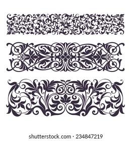 set vintage ornate border frame filigree with retro ornament pattern in antique baroque style arabic decorative calligraphy design