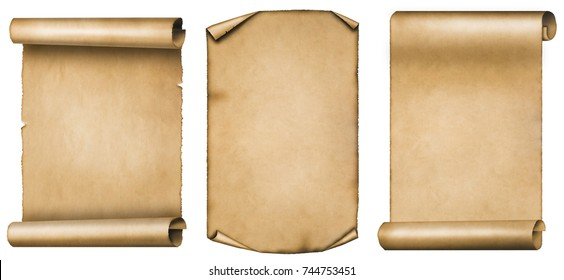 Set of vintage scrolls or parchments isolated on white background