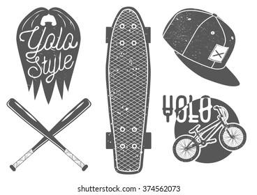 Set of vintage sport labels, emblems and logo. Yolo lettering and typography. Design elements skateboard, baseball bat, rap cap, bicycle