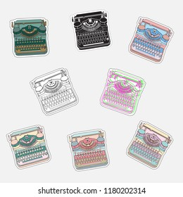 Set of vintage sticker badges with typewriters for patches, transfer, tatoo, atc