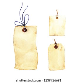 Set of vintage tags with laces. watercolor illustration. High quality, white background.