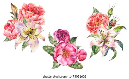 Set of Vintage Watercolor bouquets with Blooming Flowers. Roses, Peonies, White Royal Lilies. Natural botanical Illustration isolated on white background