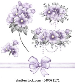 Set vintage watercolor elements of purple flowers, wedding collection - branch, jewelry, bow, leaves, illustration isolated on white background, herbs. bud and leaf.