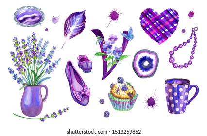 """Set of violet objects: brooch, lavender bouquet, shoes, beads, blueberry muffin, checkered heart, letter """"V"""" with violets, stone cut, imprint of a leaf, blots. Watercolor clipart in purple tones ."""