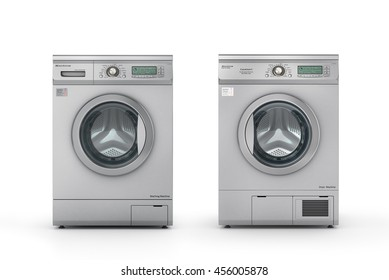 Set of washing and dryer machine on a white background. 3d illustration