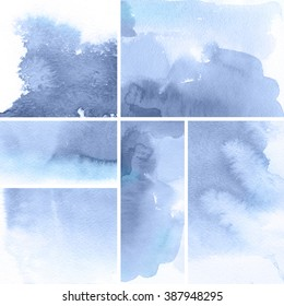 Set of watercolor abstract hand painted backgrounds. Serenity Tint Watercolour Texture Gradient. Pastel Colored Palette.