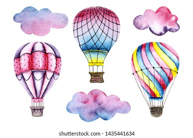 Set of watercolor air balloons with clouds. Colorful illustration isolated on white. Hand painted airship perfect for children's wallpaper, fabric textile, interior design, card making