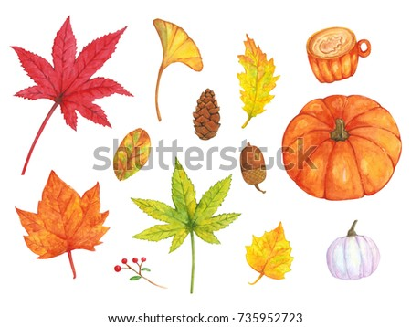 46e326770f5 Set of Watercolor with autumn leaves, pumpkins and coffee cup on white  isolated background