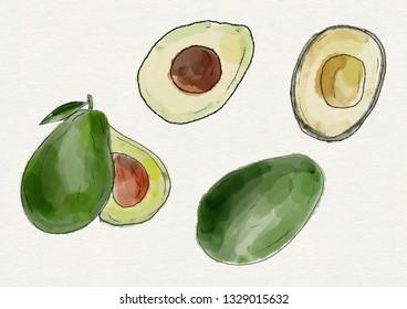 Set of watercolor avocado