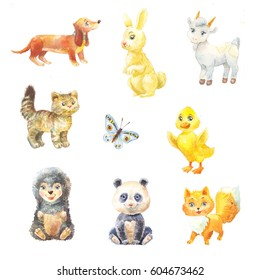 set of watercolor baby animals suit for children's book. Illustration of cute characters on white background. Fluffy pets