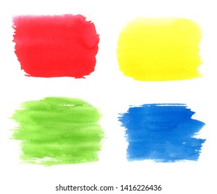 Set of watercolor backgrounds, stains. Red, green, yellow, blue water color spots with splash, paint blotch, dry brush strokes