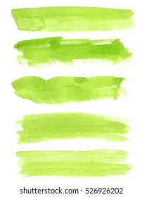 Set of watercolor backgrounds. Watercolor texture with brush strokes. Green. Isolated.