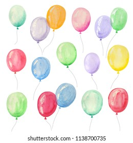 Set of watercolor balloons for a party