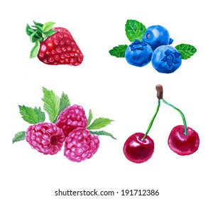 Set of watercolor berries. Strawberry, cherry, blueberry, raspberry. Hand drawn in vintage style. Raster version.