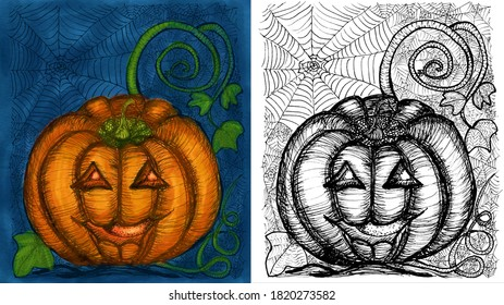 Set of watercolor and black and white pencil sketches of a pumpkin. Postcards for Halloween in vintage style.