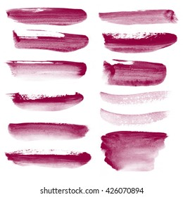 Set watercolor blobs, isolated on white background. Shape design blank watercolor colored rounded shapes web buttons on white background. Divorces paint. Red wine. Marsala