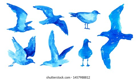 Set with watercolor blue seagulls isolated on white background