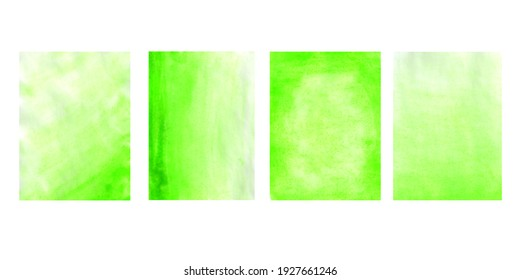 Set of watercolor blurred green backgrounds. Watercolor illustration. Handmade.