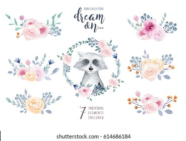 Set of watercolor boho floral bouquets with raccoon. Watercolour bohemian natural frame: leaves, feathers, flowers,  Isolated on white background. Artistic decoration illustration.