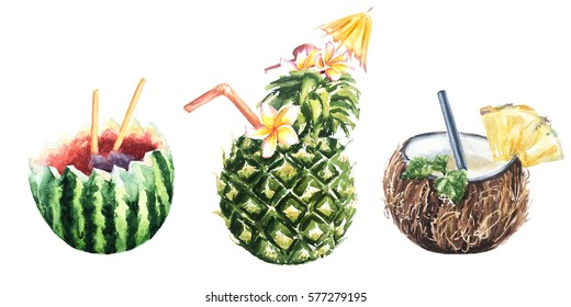 Set of watercolor botanical illustration Pineapple cocktail, coconut, watermelon
