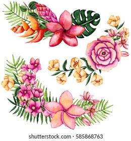 Set of Watercolor Bouquets with Vivid Tropical Flowers and Palm Leaves