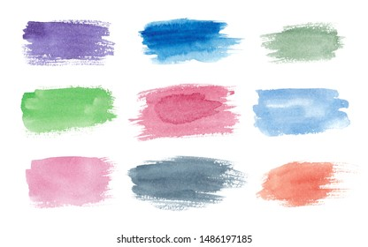 Set of watercolor brush strokes with jagged edges isolated on white background. Rectangle text boxes. Multicolored elongated shape.