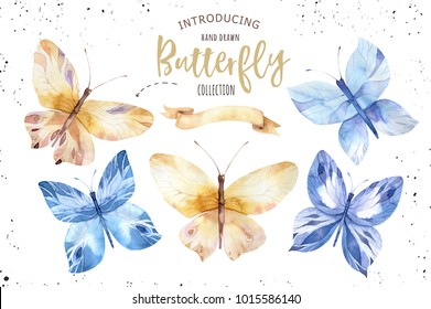 Set of watercolor butterfly. Vintage summer isolated spring art. Watercolour illustration. design wedding card, insect, flower beauty banner. Unusual popular decoration design.