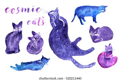 Set of watercolor cats. Cosmic background