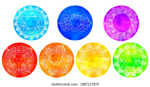 Set of watercolor chakras Hand drawing