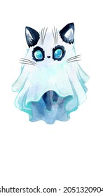 Set of watercolor cliparts. Cute mystical cats. Witch cats in a hat, a ghost cat, an angel cat and a demon, a fairy cat, a mermaid cat