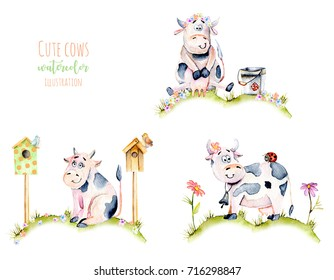 Set of watercolor cute cartoon cows on a meadow, ladybugs and simple flowers illustrations, hand drawn isolated on a white background