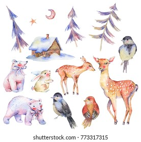 Set of watercolor cute polar bears, deer, fawn, hare, magical forest, moon, birds, hause. Animal nature collection isolated on white background, Natural winter decoration, Holiday illustration