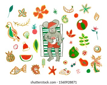 Set with watercolor Dad mouse drinks cocoa in chaise,sunglasses,pineapple,strelitzia,dragon fruit,tropical flowers,ball,parrot,shells,hat, grapefruit. An illustration of a tropical Christmas holiday.
