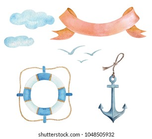 set of watercolor drawings in a marine style