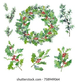 a set of watercolor drawings: twigs of holly, juniper and Christmas wreath for greeting cards and creativity