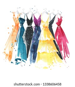 Set of watercolor dresses on hangers, fashion illustration