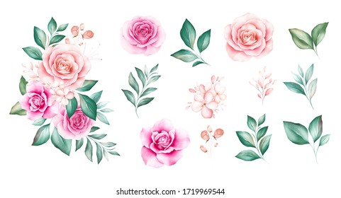Set of watercolor flowers bouquet with individual elements. Floral illustration of soft peach roses, leaves, and buds arrangement. Botanic composition design