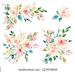 Set with watercolor flowers. Bouquets yellow and pink peonies, roses. Perfectly for greeting card, wedding invitation, poster, stickers and other printing. Isolation on white. Hand painting.