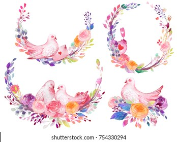 Set of watercolor flowers, leaves, branches, isolated on white. Sketched colorful wreath,groups, garland for romantic wedding, valentines day design. Watercolour style.