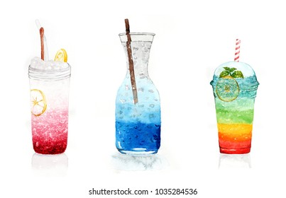set of watercolor food: beverages or soft drink - ice mixed berries with soda and lemon slice in mason jar, ice blue Hawaii cocktail in clear jar, takeaway cup of ice cocktail layers with mix colors