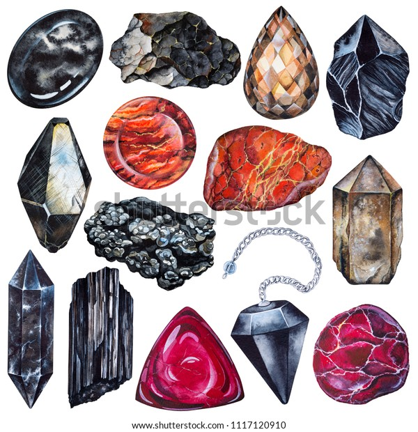 Set Watercolor Gems Root Chakra Stones Stock Illustration